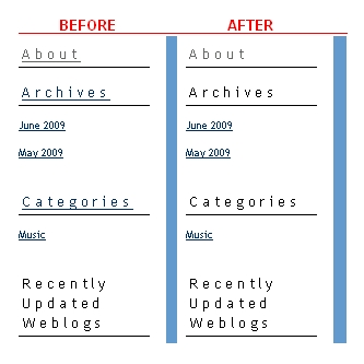 Sidebar header comparison